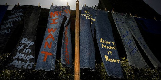 LOS ANGELES - APRIL 21:  Blue jeans with messages challenging misconceptions about sexual violence are hung by the UCLA Cloth