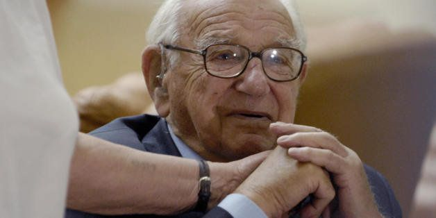 (FILES) -- A file photo taken 09 October 2007 shows British Sir Nicholas Winton in backstage of Prague's Congress Center Hall