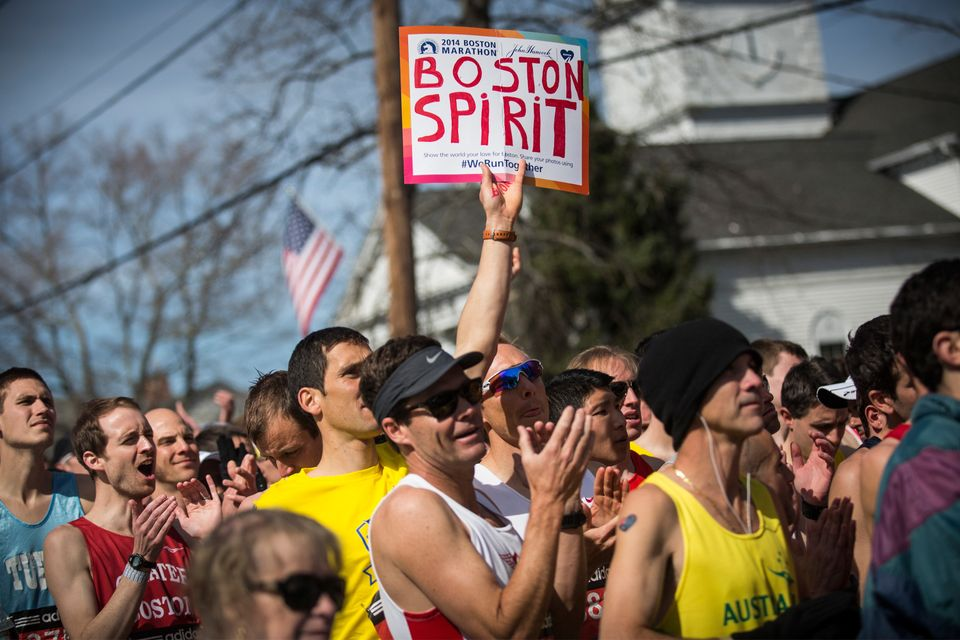 HOPKINGTON, MA - APRIL 21:  Runners wait for the start gun at the beginning of the Boston Marathon on April 21, 2014 in Hopki