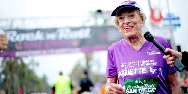 SAN DIEGO, CA - JUNE 01:  91 year old Marathon Participant Harriette Thompson participates in the Suja Rock 'n' Roll San Dieg