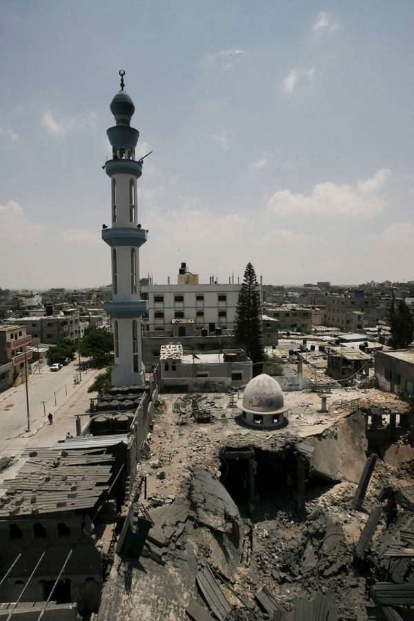 General view of the Al Farouk mosque destroyed by an overnight Israeli strike, in Rafah, in the southern Gaza Strip, Tuesday,