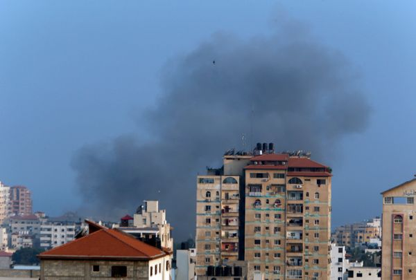 Smoke from an Israeli strike rises over Gaza City, Tuesday, July 22, 2014. A police spokesman said Israeli aircraft have hit