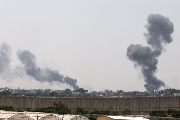 A picture taken from the southern Israeli Gaza border shows smoke billowing from the coastal Palestinian enclave following Is