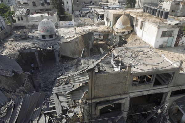 A general view of the remains of a mosque,  following an overnight Israeli military strike, on July 22, 2014, in Rafah the so