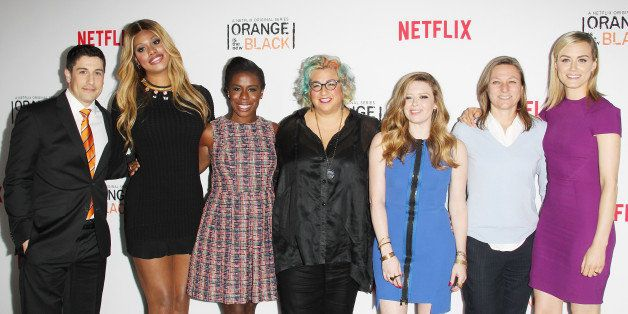 LOS ANGELES, CA - AUGUST 04:  (L-R) Actors Jason Biggs, Laverne Cox, Uzo Aduba, Jenji Kohan, Natasha Lyonne, Netflix VP of Or