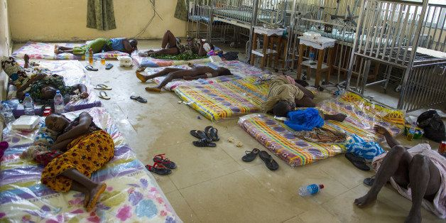 MONROVIA, LIBERIA-SEPTEMBER 20:   The scene inside the Redemption  Hospital which has become a transfer and holding center to