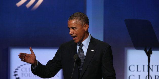 NEW YORK, NY - SEPTEMBER 23:  U.S. President Barack Obama speaks at the Clinton Global Initiative (CGI), on September 23, 201