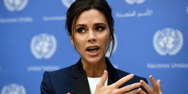 UNAIDS International Goodwill Ambassador, British fashion designer Victoria Beckham, speaks a press conference on the sidelin