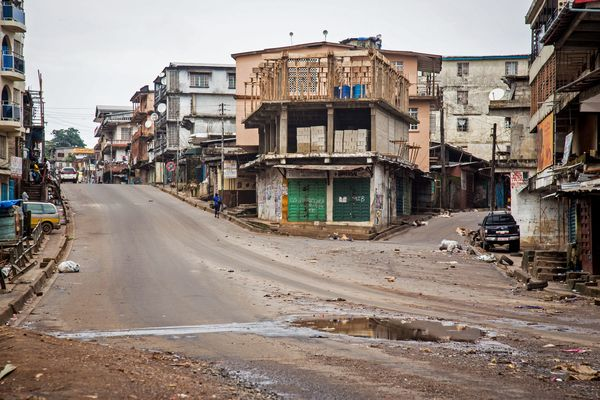 Empty streets are seen, as Sierra Leone government enforces a three day lock down on movement of all people in an attempt to