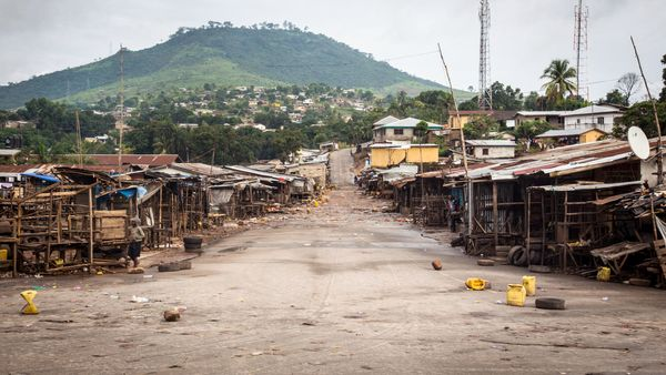 An empty local market area is seen, as Sierra Leone government enforces a three day lock-down on movement of all people in a