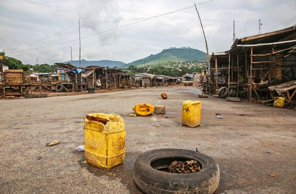 An empty local market area is seen at Waterloo, as the Sierra Leone government enforces a three day lock down on movement of