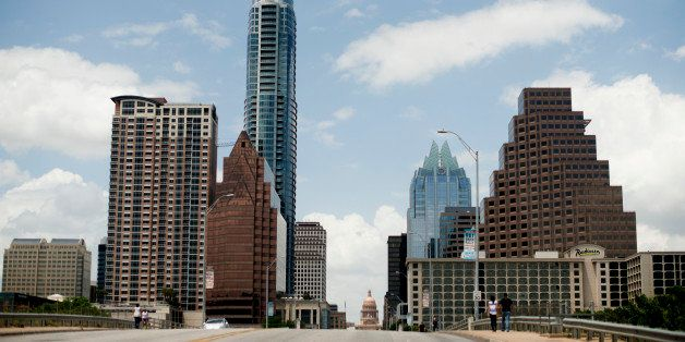 Buildings stand in the skyline of Austin, Texas,. U.S., on Friday, June 6, 2014. Localities in Texas, home to seven of the na