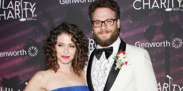 HOLLYWOOD, CA - OCTOBER 17: Seth Rogen and wife, Lauren Miller Rogen arrive at the Hilarity For Charity's (HFC) 3rd Annual Los Angeles HFC Variety Show held at Hollywood Palladium on October 17, 2014 in Hollywood, California. (Photo by Michael Tran/FilmMagic)
