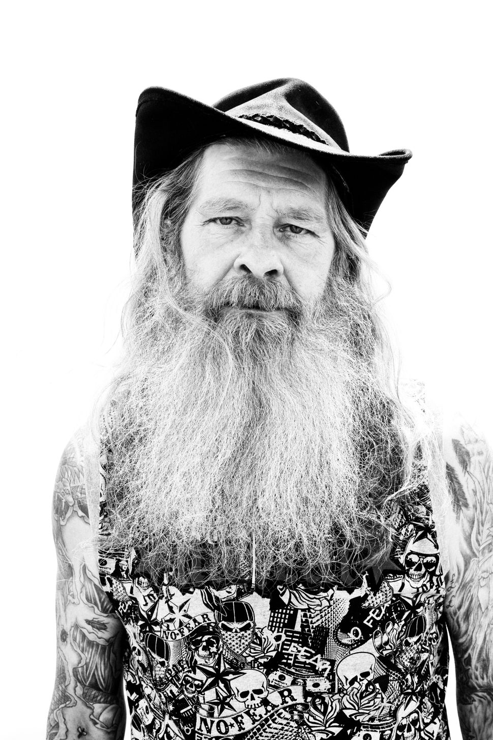 Portrait of an elderly man with a big beard, Download Festival, 2009, UK.
