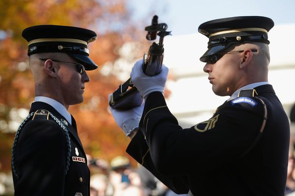 ARLINGTON, VA - NOVEMBER 11:  A sentinel from the 3rd U.S. Infantry Regiment, also called the Old Guard, has his weapon inspe