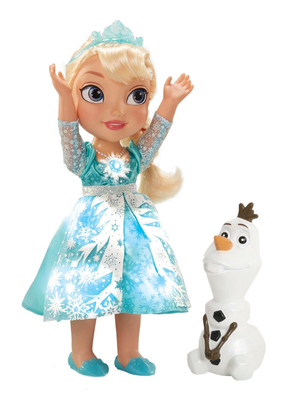 With the touch of her magical snowflake necklace, hear Elsa talk to her Frozen friends and watch entranced as her dress light