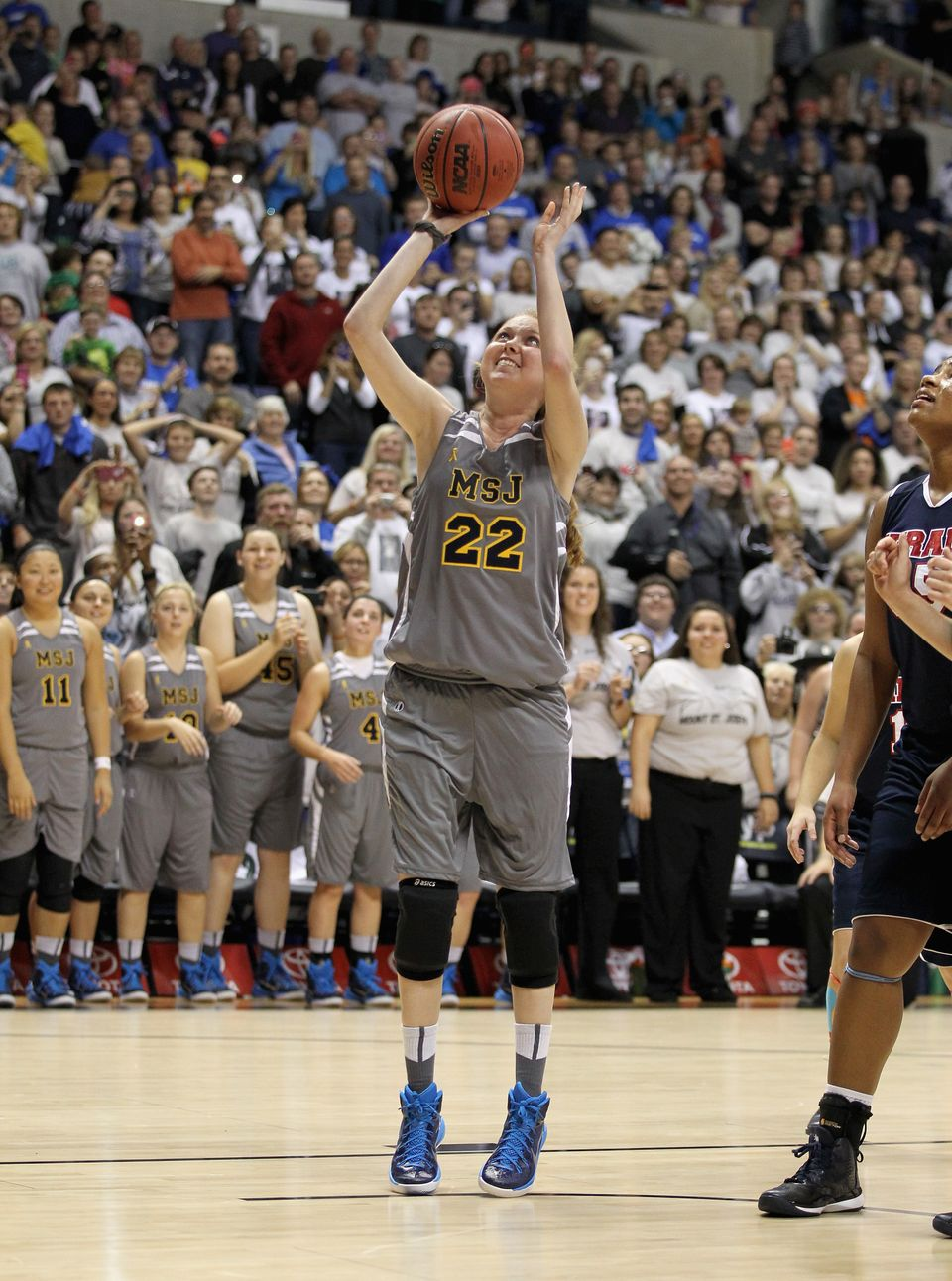 CINCINNATI, OH - NOVEMBER 02:  Lauren Hill of Mount St. Joseph shoots to score her second basket during the game against Hira