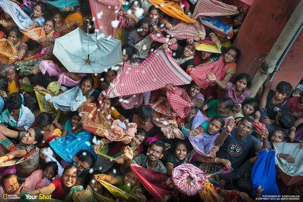 힌두교의 전통 축제에 모인 사람들. 크리슈나에게 바친 쌀을 신자들에게 던져주는 중이다.
