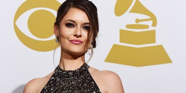 Presenter Brooke Axtell poses in the press room during the 57th annual Grammy Awards in Los Angeles, California on February 8