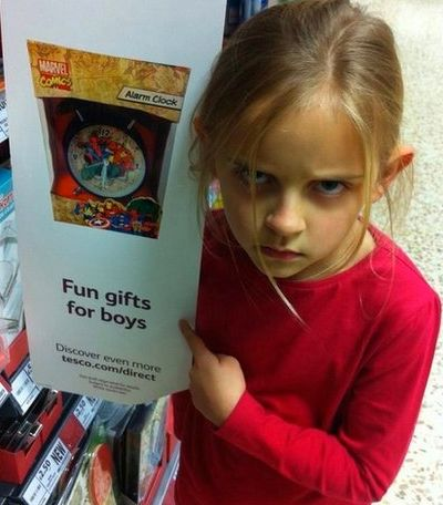 """Late last year, Tesco removed a sign which singled out a superhero alarm clock as a """"fun gift for boys"""" in response to a comp"""