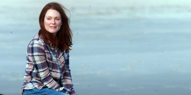 NEW YORK, NY - MARCH 20:  Julianne Moore filming 'Still Alice' on March 20, 2014 in Long Island, New York.  (Steve Sands/GC I