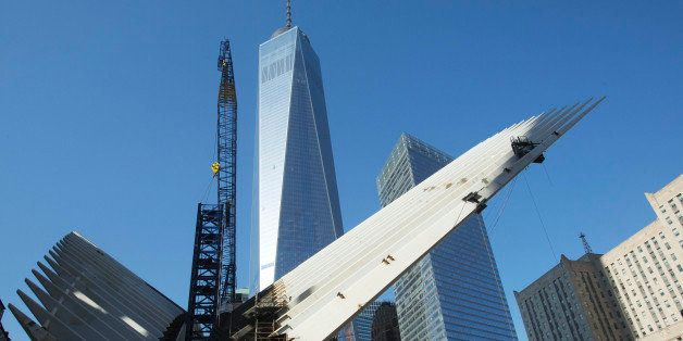 The World Trade Center transportation  hub is under construction, November 20, 2014 in New York. The building is designed by