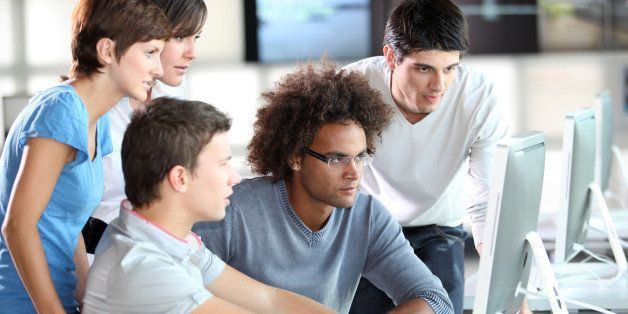 Group of young people in training course