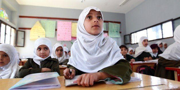 Yemeni schoolgirls attend a class on February 26, 2015 in the capital Sanaa. Yemen, long on the front line in the fight again