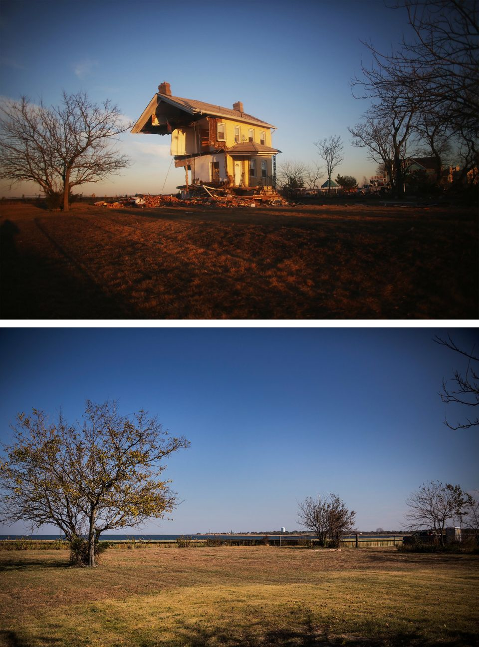 UNION BEACH, NJ - NOVEMBER 21: (top) The iconic Princess Cottage, built in 1855, remains standing after being ravaged by floo