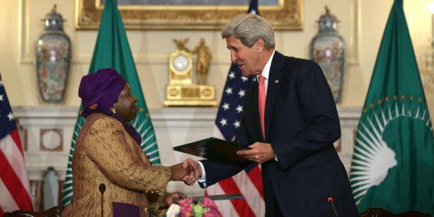 WASHINGTON, DC - APRIL 13:  U.S. Secretary of State John Kerry (R) and African Union Commission Chairperson Nkosazana Dlamini