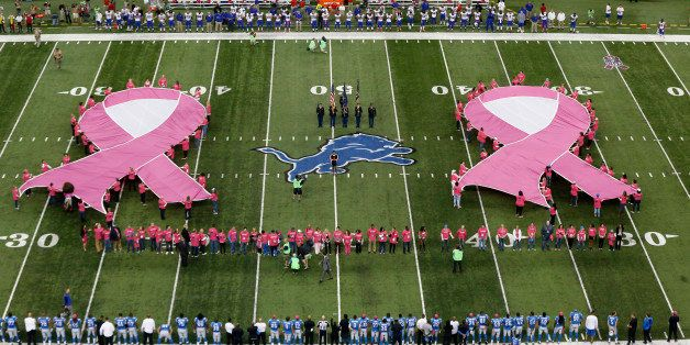 Pink ribbons are displayed for Breast Cancer Awareness before an NFL football game between the Detroit Lions and the Buffalo