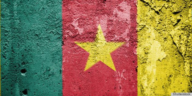 the cameroonian flag painted on ...