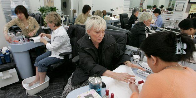 SAN FRANCISCO - MARCH 03:  Linda Donly-Reid (C) receives a manicure at JT Nails March 3, 2006 in San Francisco. California As