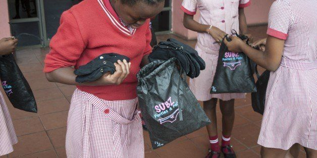 Grade 7 pupils leave with a Subz Pads & Panties pack after and educational talk about menstruation and Female reproductive sy