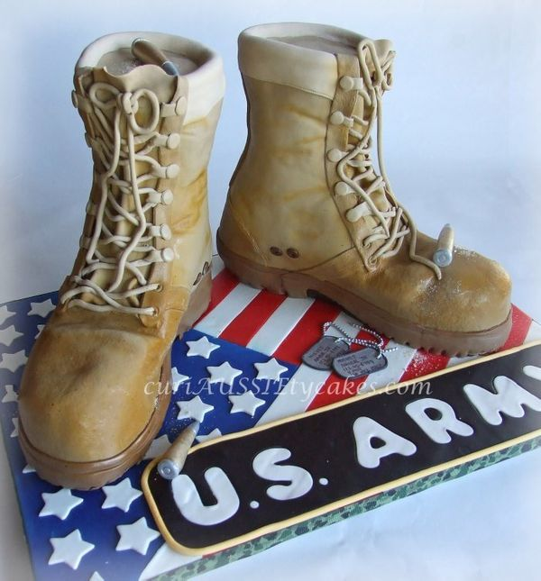 "<strong><a href=""http://www.curiaussietycakes.com/"" target=""_blank"">Army Boots Cake</a> from Sharon Spradley</strong>"