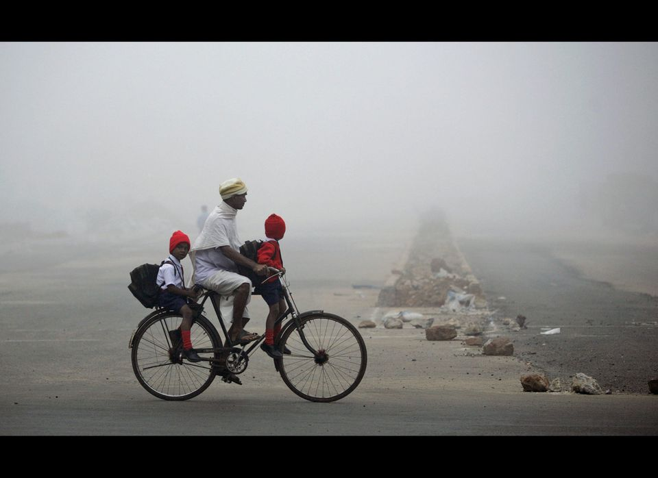 An Indian man carries children to school on a bicycle on a foggy morning in Bhubaneswar, India, Thursday, Jan. 3, 2013. Dense