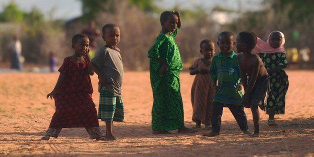 Somali children play at Hagadera sector of the Dadaab refugee camp, north of the Kenyan capital Nairobi, on April 29, 2015.