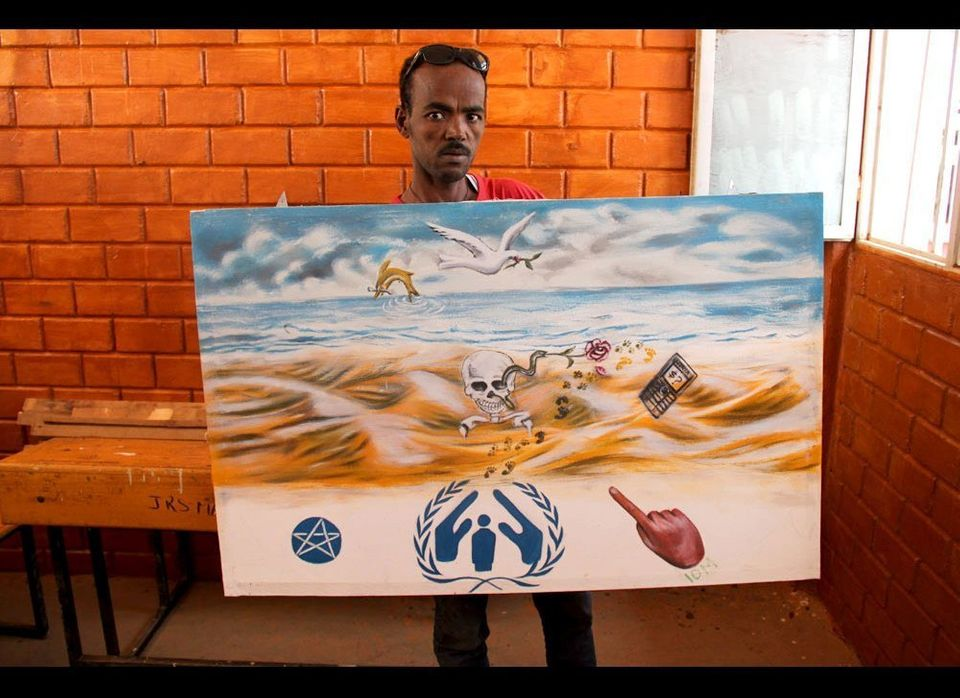 """This shows the entire journey of a refugee trying to reach Europe. They go out of the UN office in Ethiopia frustrated that"