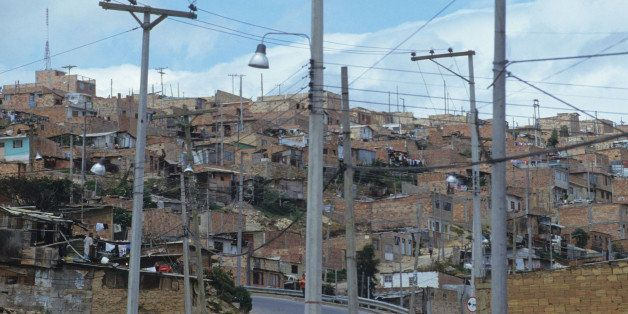 Slum, Colombia, Bogota, Poor Barrio In Bogota, Showing Recently Installed Electricity And Telephone Lines, (Photo by Universa