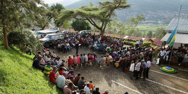 KIGALI, RWANDA - APRIL 08:  Byabugogo Cell Assistant Secretary Butera Aicha, 33, leads a Ibiganiro byo Kwibuka, or 'Meeting o