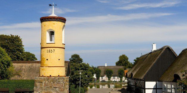 Famous yellow bell tower, 1857, at Nordby, Samsoe, Denmark. (Photo by: MyLoupe/UIG via Getty Images)