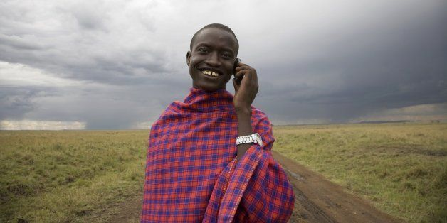 Masai man with cell phone