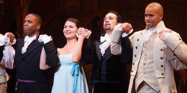 Leslie Odom Jr., from left, Phillipa Soo, Lin-Manuel Miranda and Christopher Jackson appear at the curtain call following the