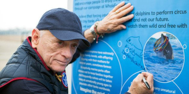 BRIGHTON, UNITED KINGDOM - MARCH 14: Ric OBarry, star of the Academy Award winning documentary The Cove, signing the petition