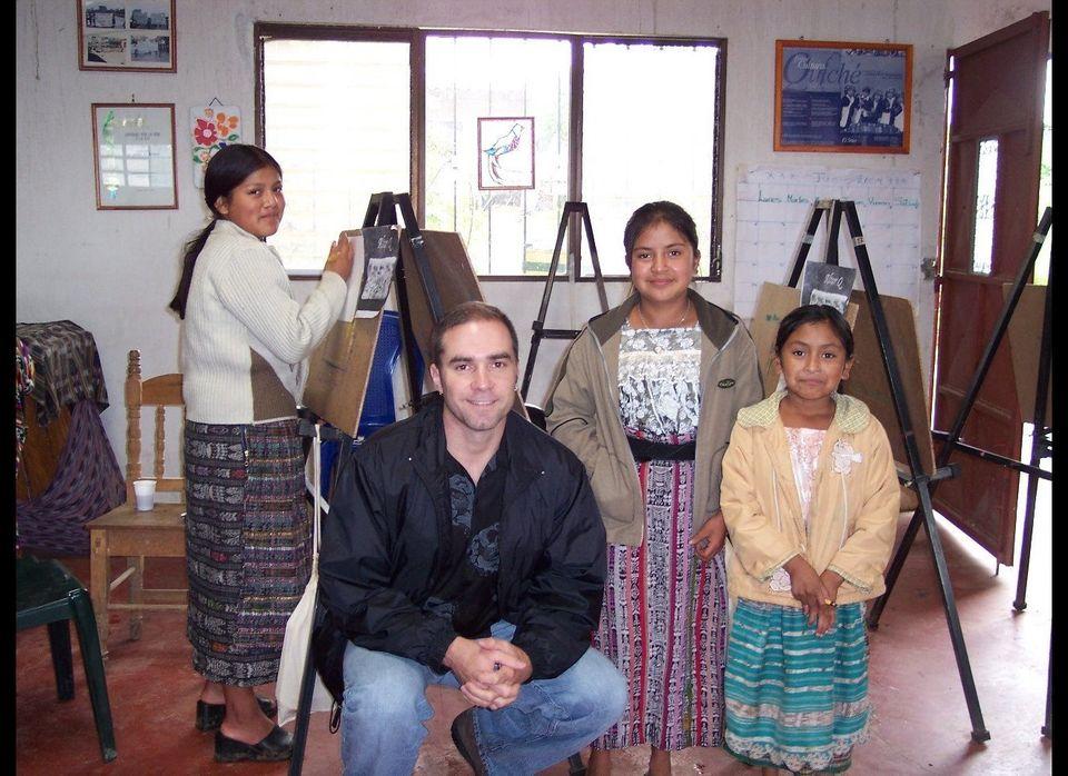 Jeff Cotter visits a rural village art class in El Quiche, Guatemala.
