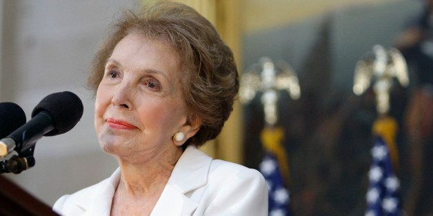 Former first lady Nancy Reagan speaks in the Capitol Rotunda in Washington, Wednesday, June 3, 2009, during a ceremony to unv
