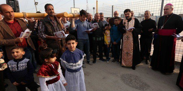 Iraqi Christians, who fled the violence in the northern city of Mosul after Islamic State (IS) group militants took control o