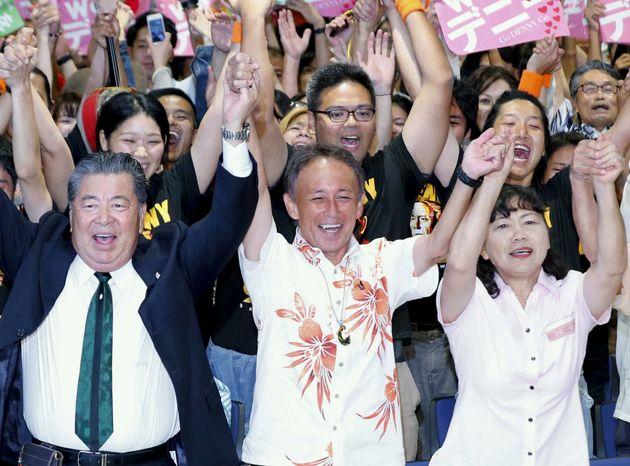 일본 오키나와현 지사가 새로 뽑혔다. 미국·일본 정부는