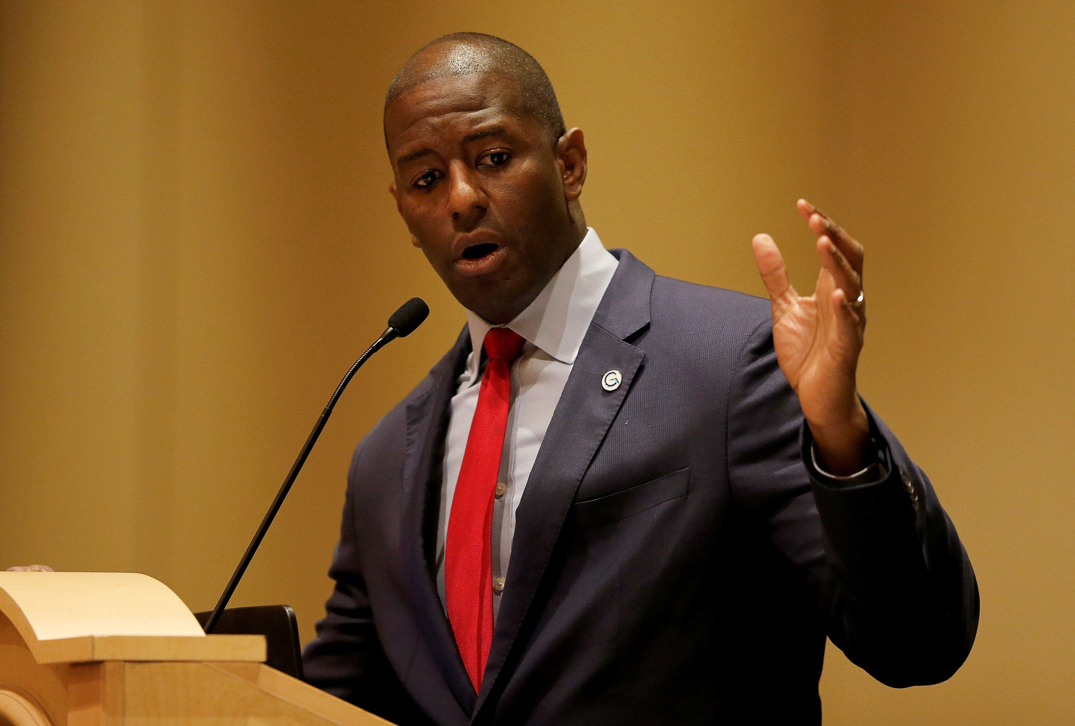Democratic candidate Andrew Gillum speaks at a Florida League of Cities Gubernatorial Candidates Forum in Hollywood, Florida, U.S. August 15, 2018.  REUTERS/Joe Skipper
