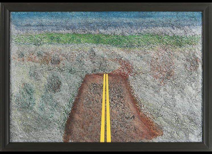 Richard Artschwager, <em>Landscape with Median</em>, acrylic, charcoal and laminate on handmade paper on soundboard, 35.5 x 4